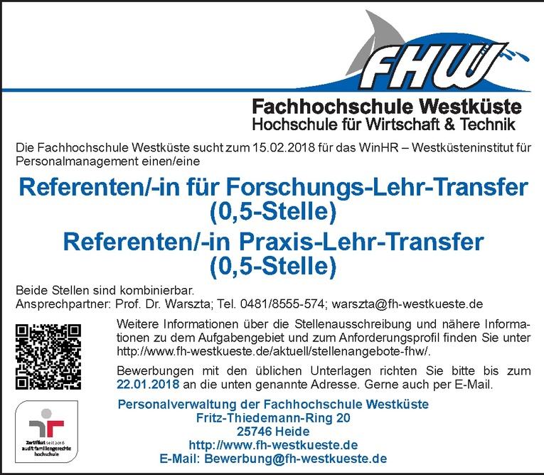 Referenten/-in für Forschungs-Lehr-Transfer