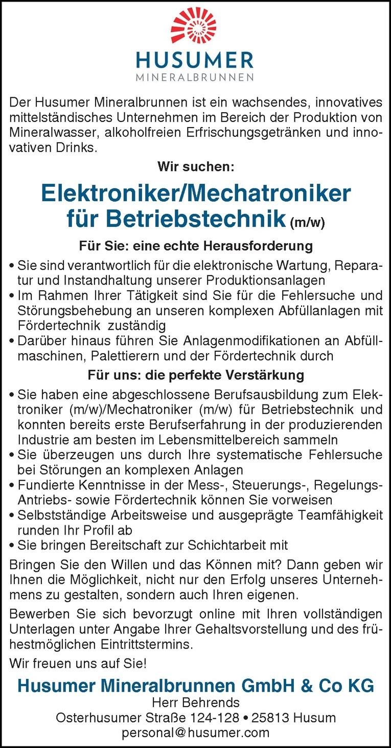 Elektroniker/Mechatroniker für Betriebstechnik (m/w)