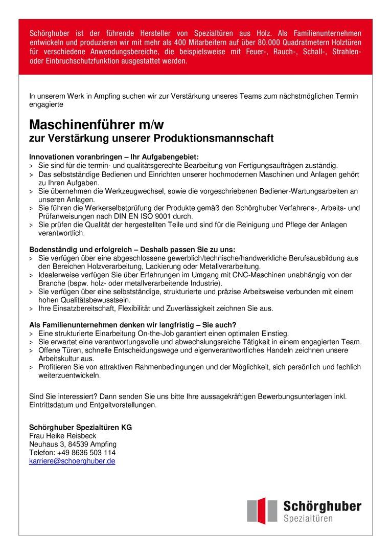Maschinenführer m/w