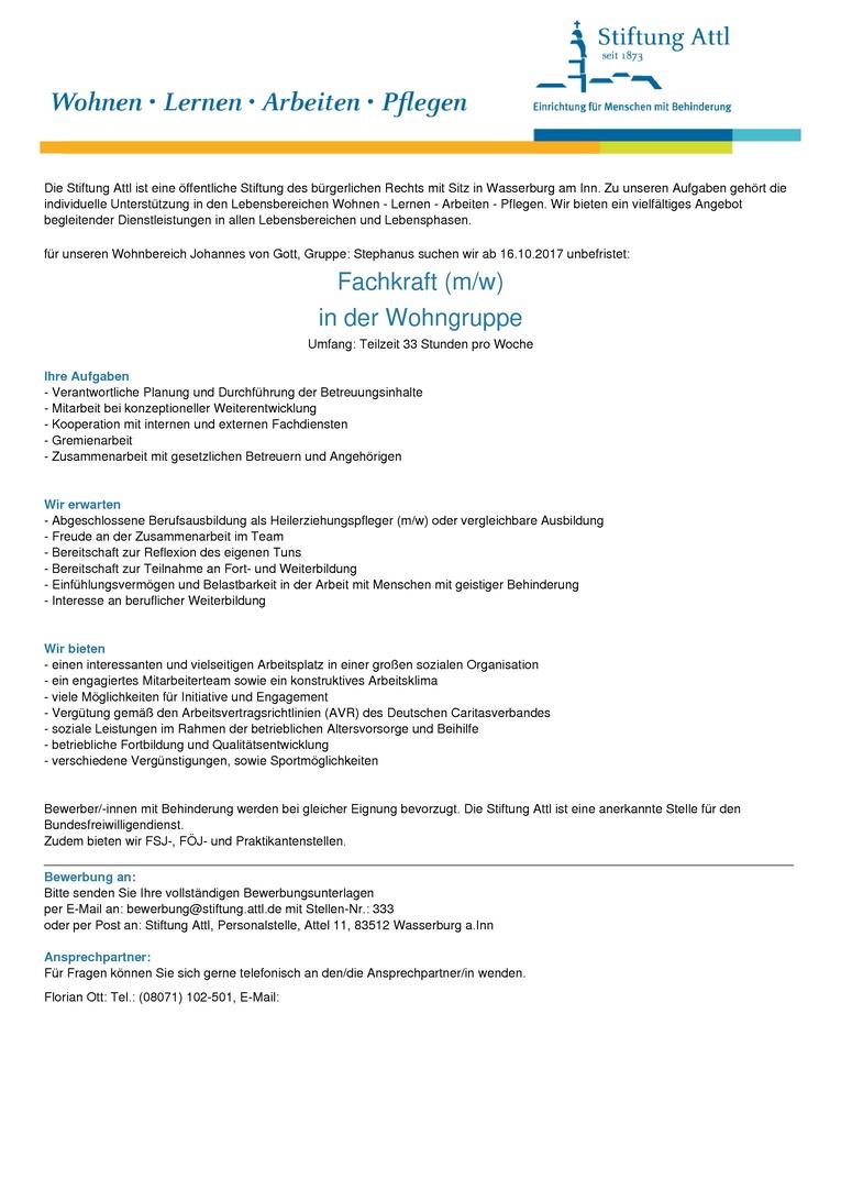 Fachkraft in der Wohngruppe (m/w) in Teilzeit für 33,0 Stunden, unbefristet- Stellen-Nr. 333