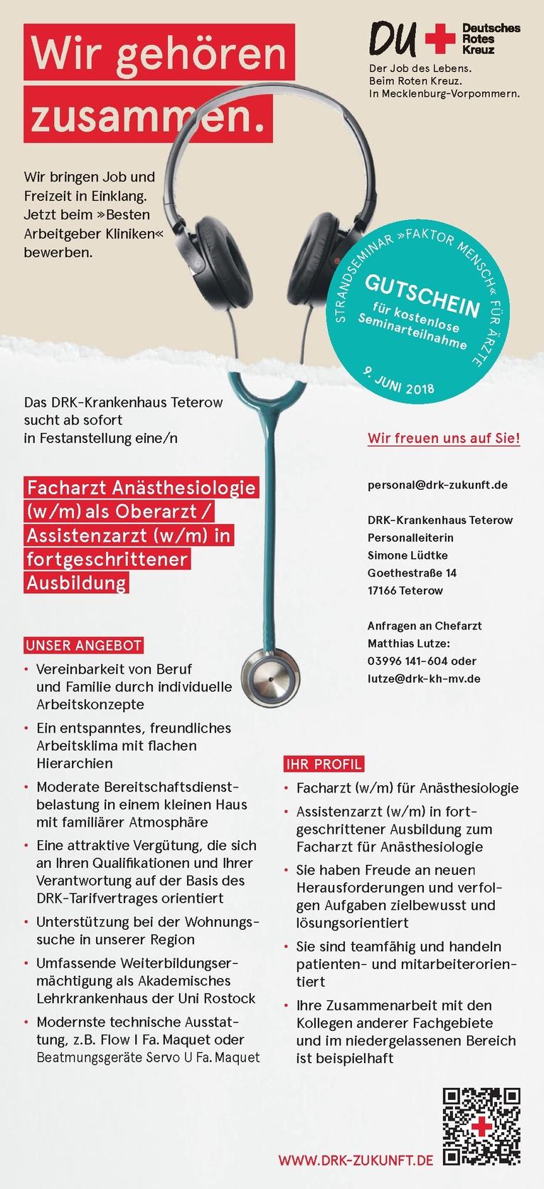Facharzt Anästhesiologie (w/m) als Oberarzt / Assistenzarzt (w/m) in fortgeschrittener Ausbildung