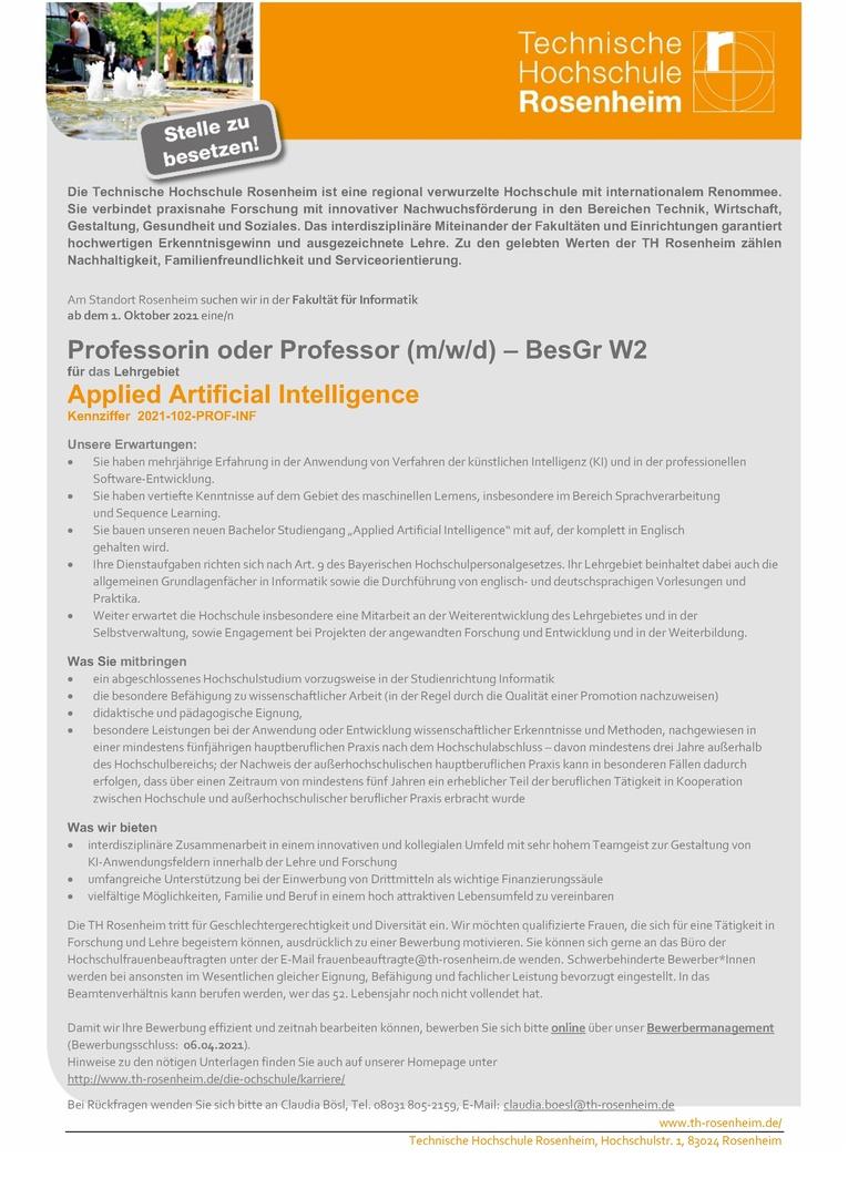 Job Professorin Oder Professor M W D Fur