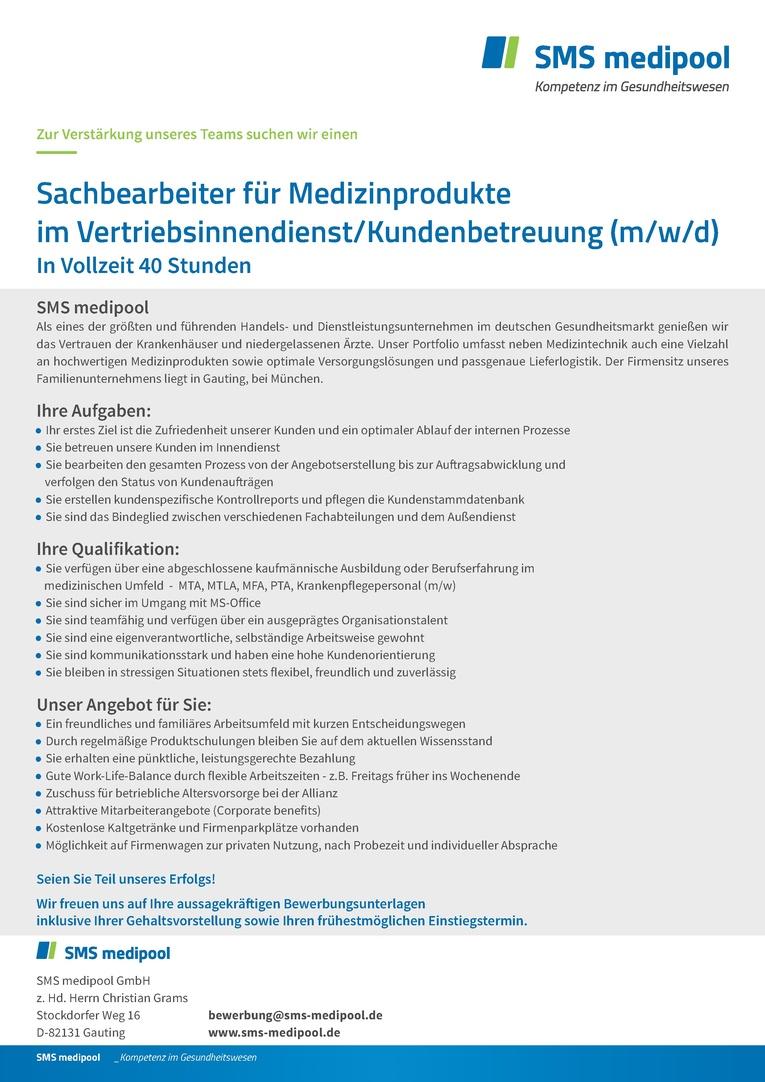 Job Sachbearbeiter Für Medizinprodukte Im Vertriebsinnendienst