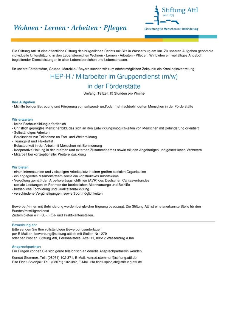 HEP-H / Mitarbeiter im Gruppendienst für die Förderstätte (m/w) in Teilzeit für 15,0 Stunden - befristet - Stellen-Nr. 279