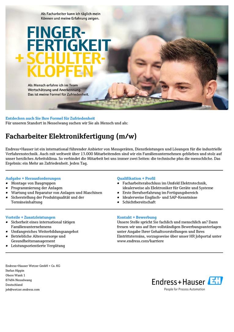 Facharbeiter Elektronikfertigung (m/w)