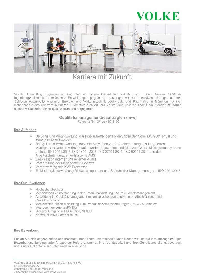 Qualitätsmanagementbeauftragter (m/w)