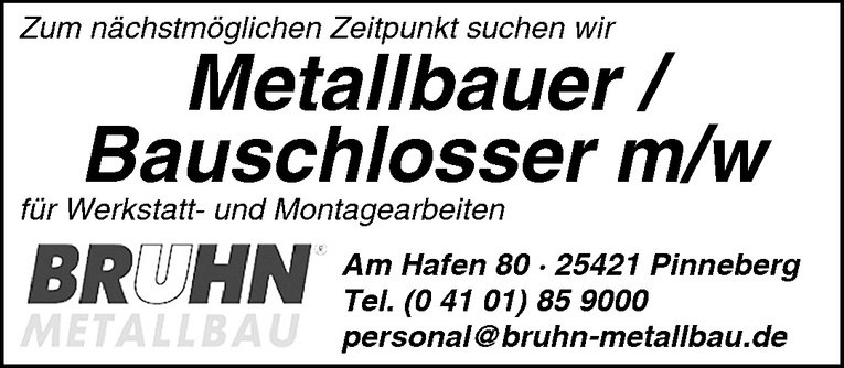 Metallbauer / Bauschlosser m/w