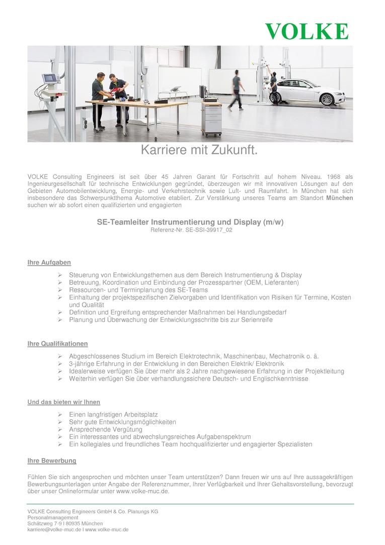 SE-Teamleiter Automotive (m/w) Schwerpunkt Instrumentierung und Display