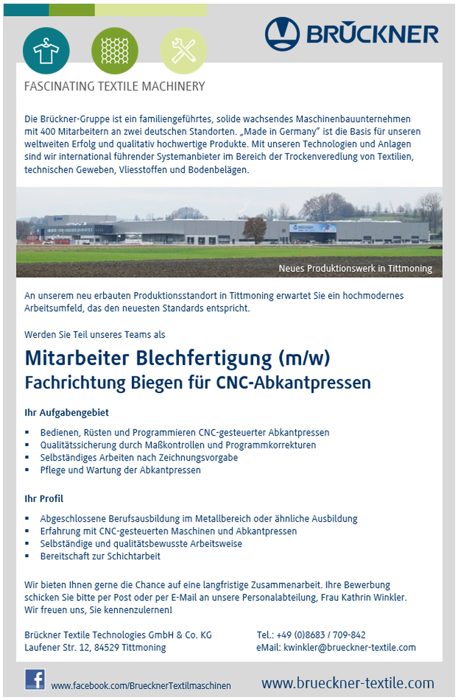 Mitarbeiter Blechfertigung Fachrichtung Biegen für CNC-Abkantpressen (m/w)