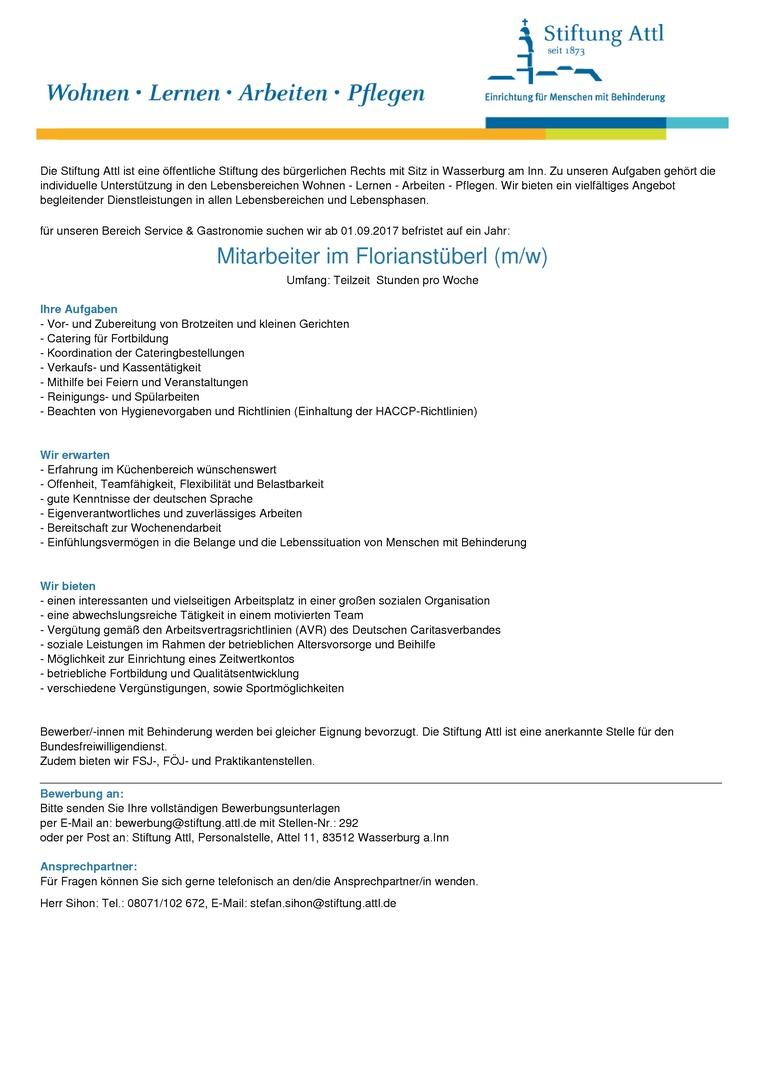 Mitarbeiter im Florianstüberl (m/w) in Teilzeit 30,0 Stunden, befristet auf ein Jahr  - Stellen-Nr. 292