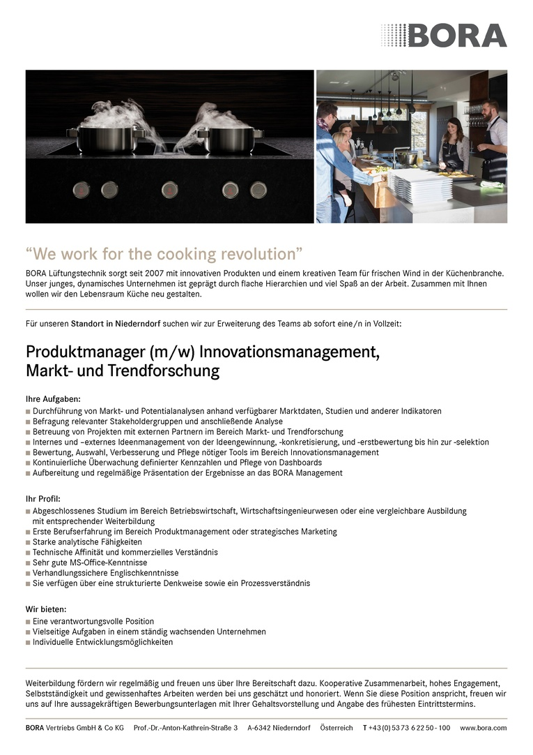 Produktmanager (m/w) Innovationsmanagement, Markt- und Trendforschung