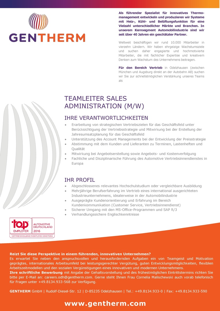 Teamleiter Sales Administration (m/w)