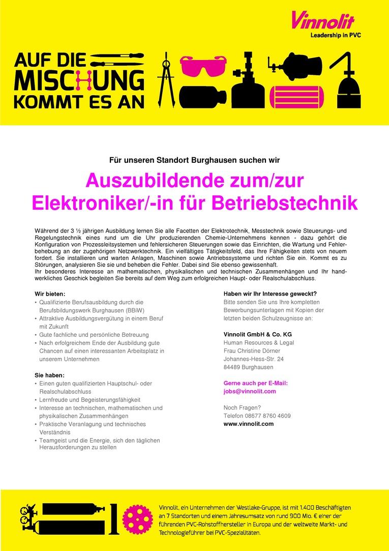 Auszubildende zum/zur Elektroniker/-in für Betriebstechnik