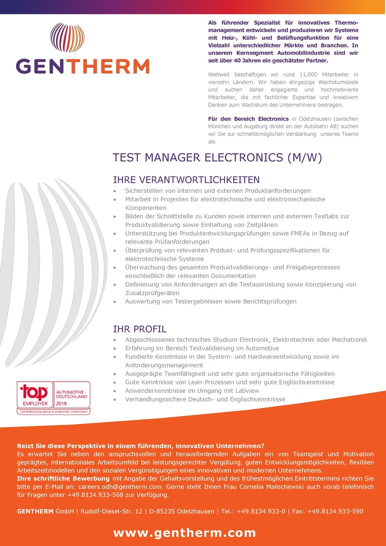 Test Manager Electronics (m/w)