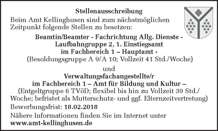 Beamtin/Beamter - Fachrichtung Allg. Dienste Laufbahngruppe 2, 1. Einstiegsamt im Fachbereich 1 – Hauptamt