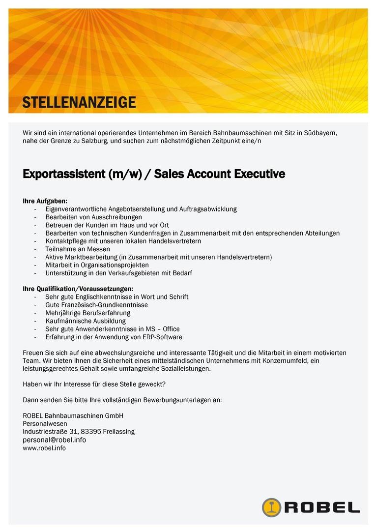 Exportassistent / Vertriebsmitarbeiter (m/w) im Innendienst