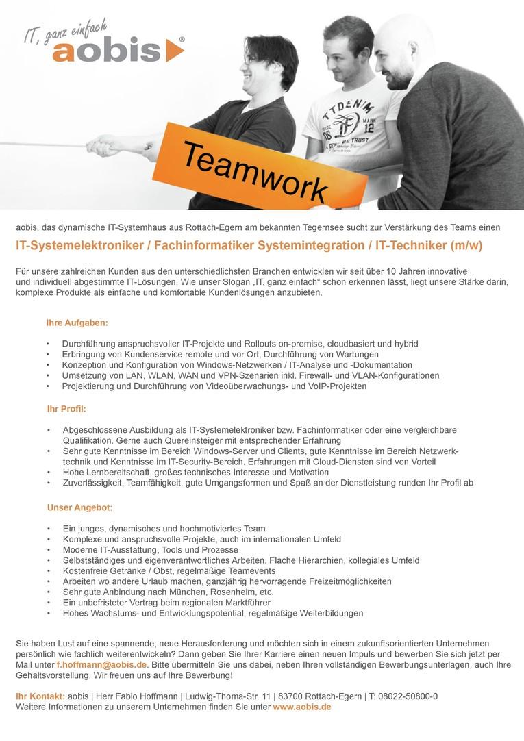 IT-Systemelektroniker / Fachinformatiker Systemintegration / IT-Techniker (m/w)