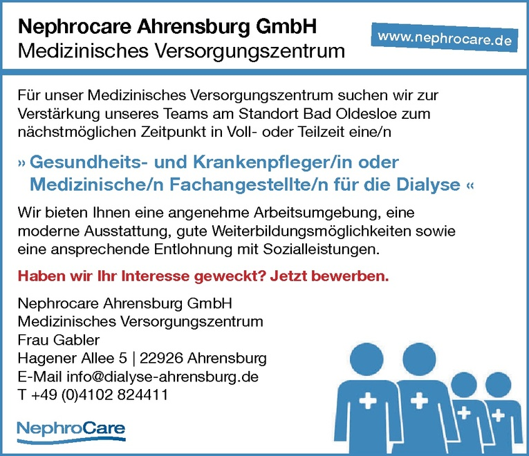 Gesundheits- und Krankenpfleger/in / Medizinische/n Fachangestellte/n für die Dialyse