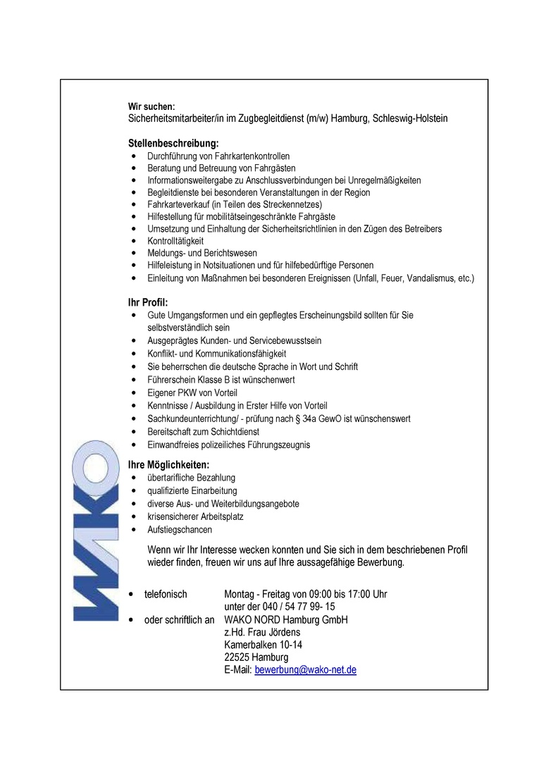Sicherheitsmitarbeiter/in im Zugbegleitdienst (m/w) in Hamburg / Schleswig-Holstein