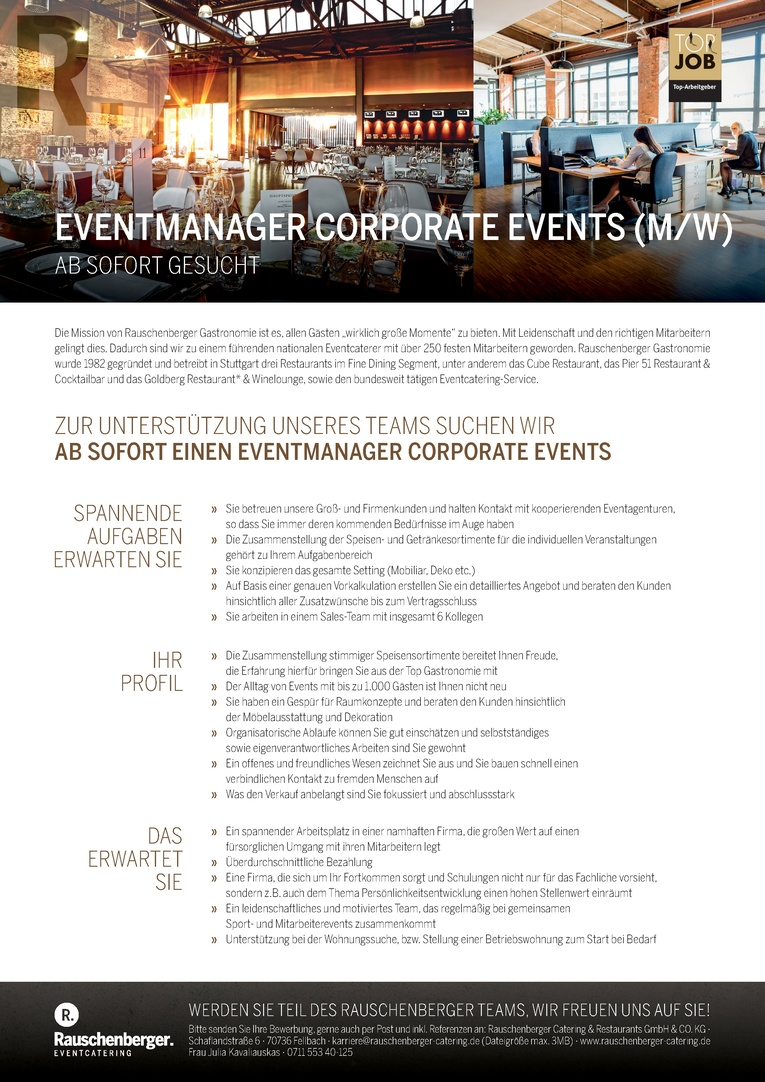 EVENTMANAGER CORPORATE EVENTS (m/w)