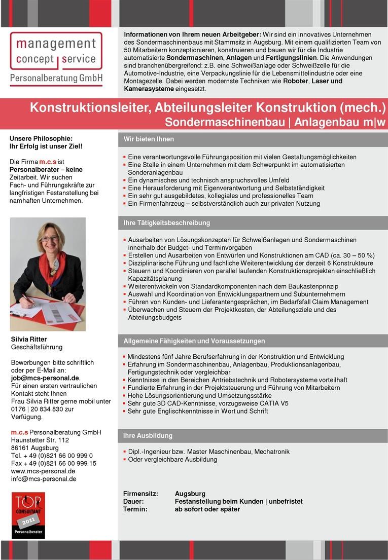 Konstruktionsleiter, Abteilungsleiter Konstruktion (mech.) Sondermaschinenbau   Anlagenbau m w