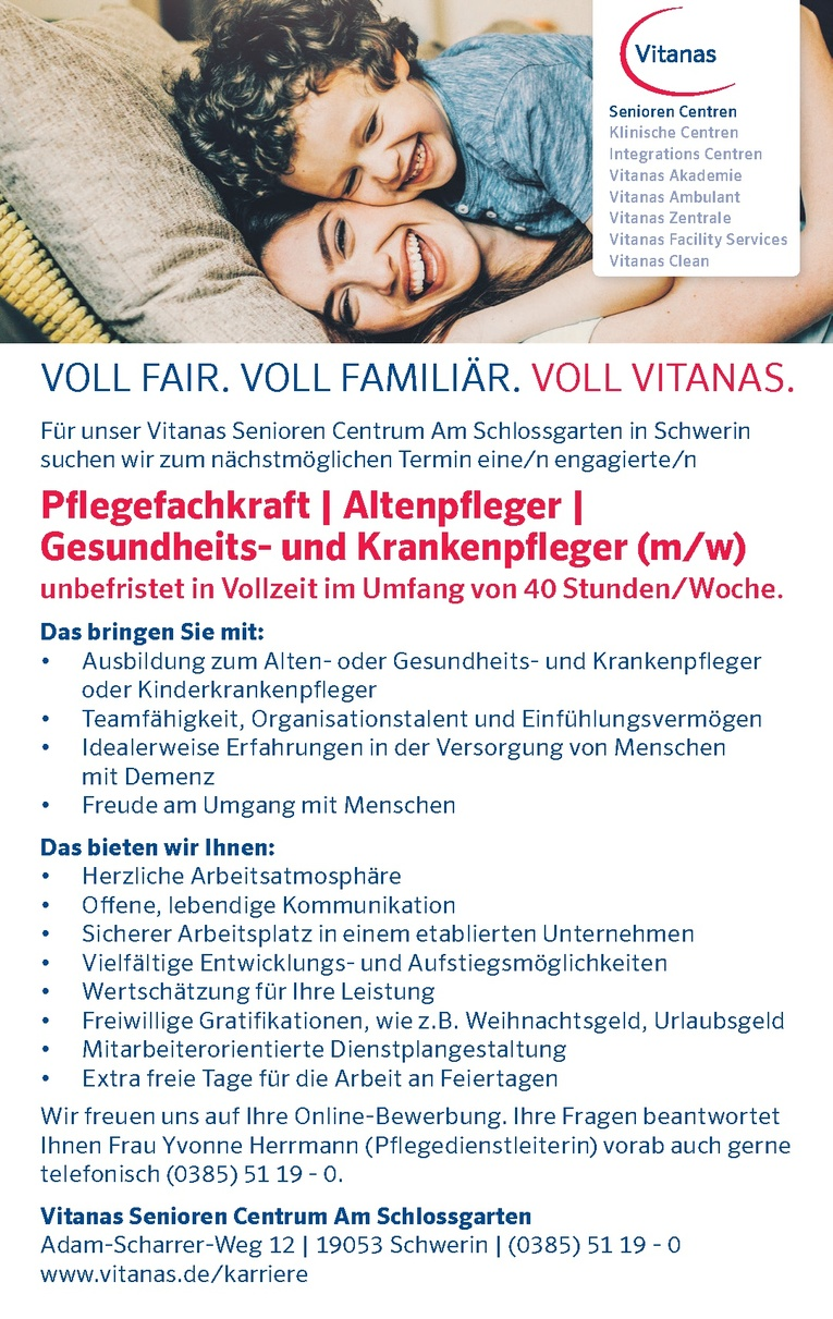 Pflegefachkraft / Altenpfleger / Gesundheits- und Krankenpfleger (m/w)