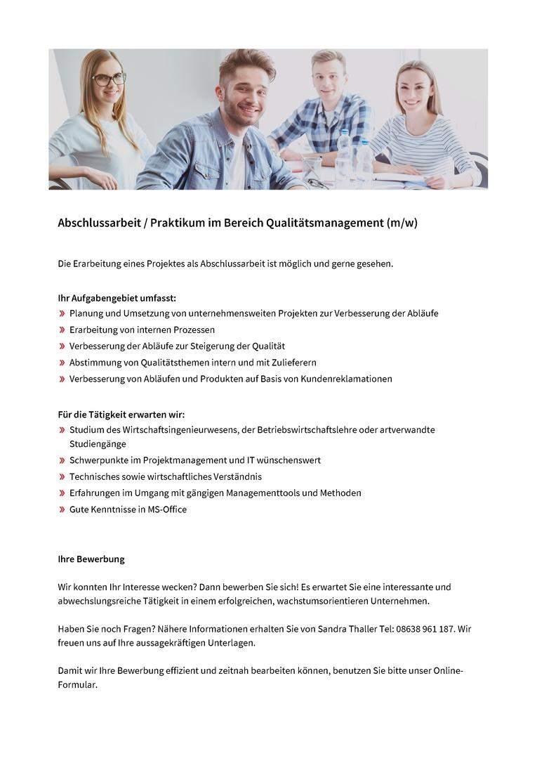 Abschlussarbeit / Praktikum im Bereich Qualitätsmanagement (m/w)