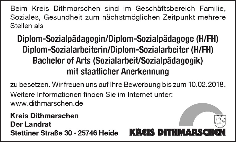 Diplom-Sozialpädagoge (H/FH) / Diplom-Sozialarbeiter (H/FH) / Bachelor of Arts (m/w)