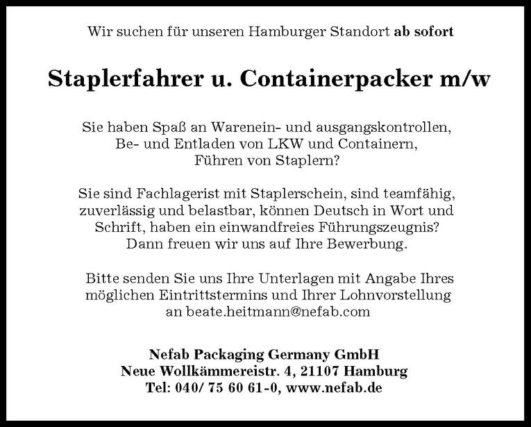 Staplerfahrer u. Containerpacker m/w