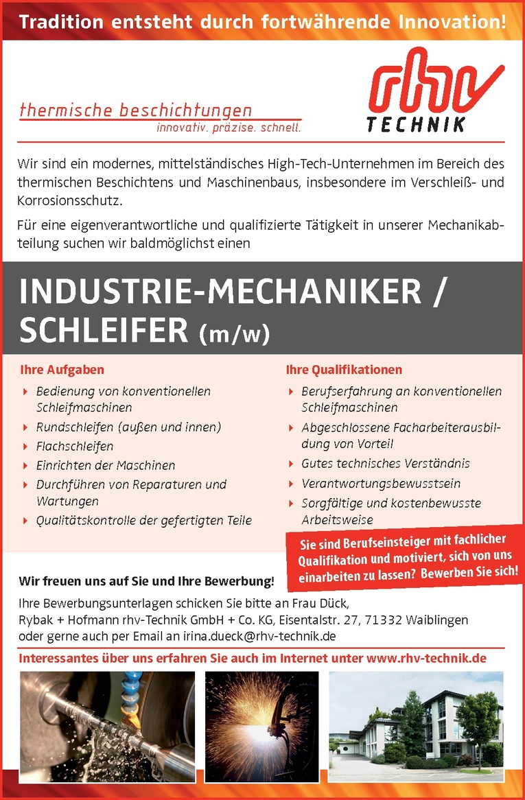 INDUSTRIE-MECHANIKER / SCHLEIFER (m/w)