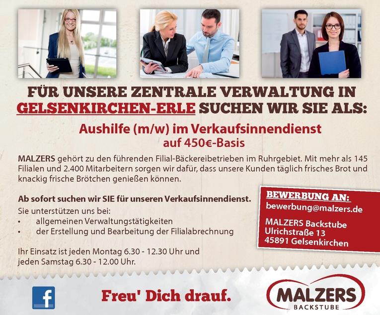Aushilfe (m/w) im Verkaufsinnendienst auf 450,-€-Basis