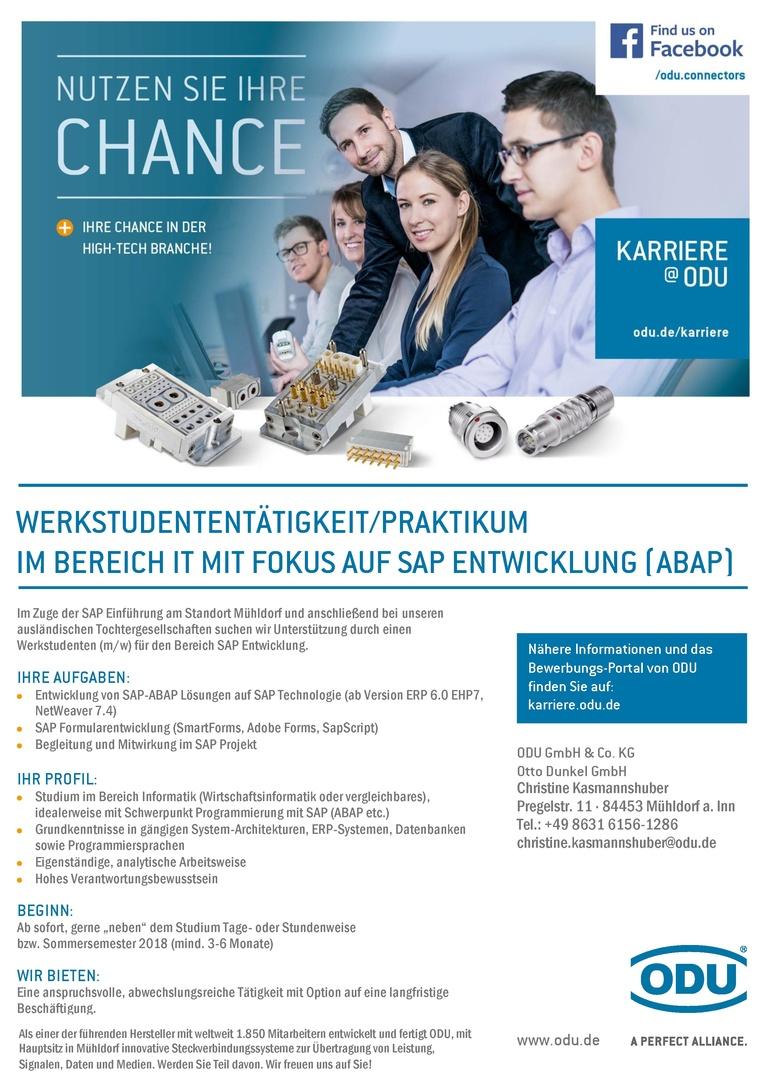 Werkstudententätigkeit / Praktikum im Bereich IT mit Fokus auf SAP Enwicklung (ABAP)
