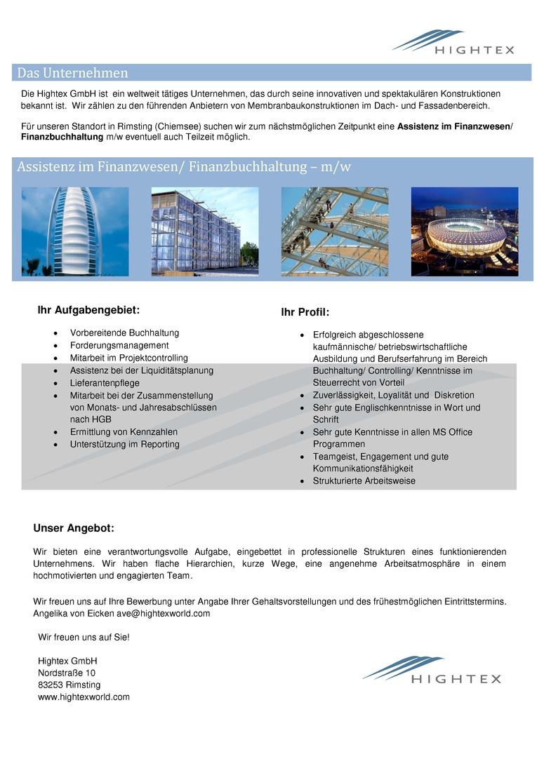 Assistenz im Finanzwesen/ Finanzbuchhaltung