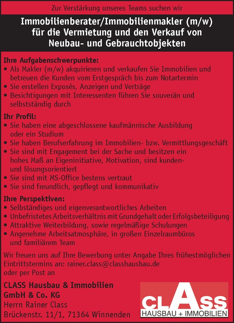 Immobilienberater/Immobilienmakler (m/w)