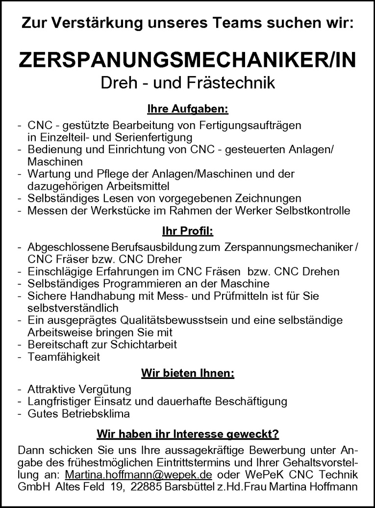 ZERSPANUNGSMECHANIKER/IN