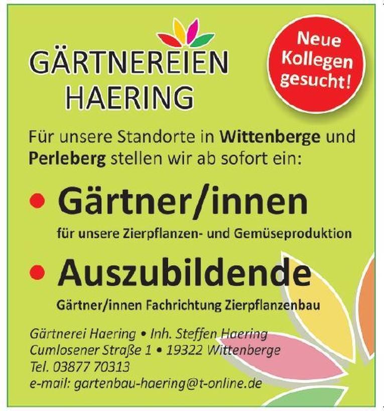 Gärtner (m/w) und Auszubildende zum Gärtner (m/w) an unseren Standorten in Perleberg und