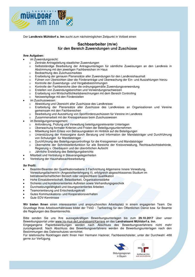 Sachbearbeiter (m/w) für den Bereich Zuwendungen und Zuschüsse – Landratsamt Mühldorf a. Inn (öffentlicher Dienst)