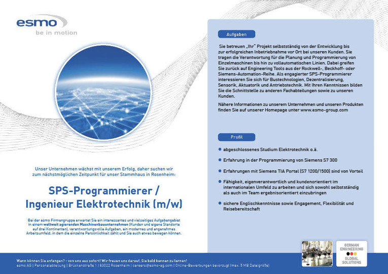 SPS-Programmierer / Ingenieur Elektrotechnik (w/m)