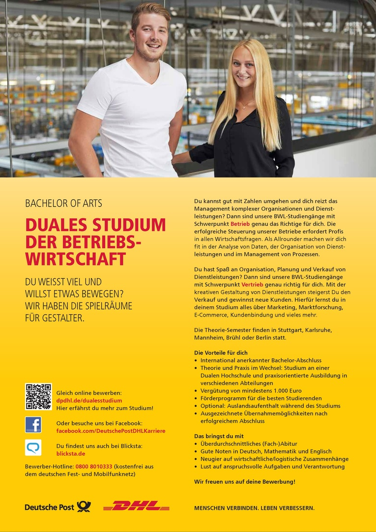 Bachelor of Arts / Duales Studium der Betriebswirtschaft