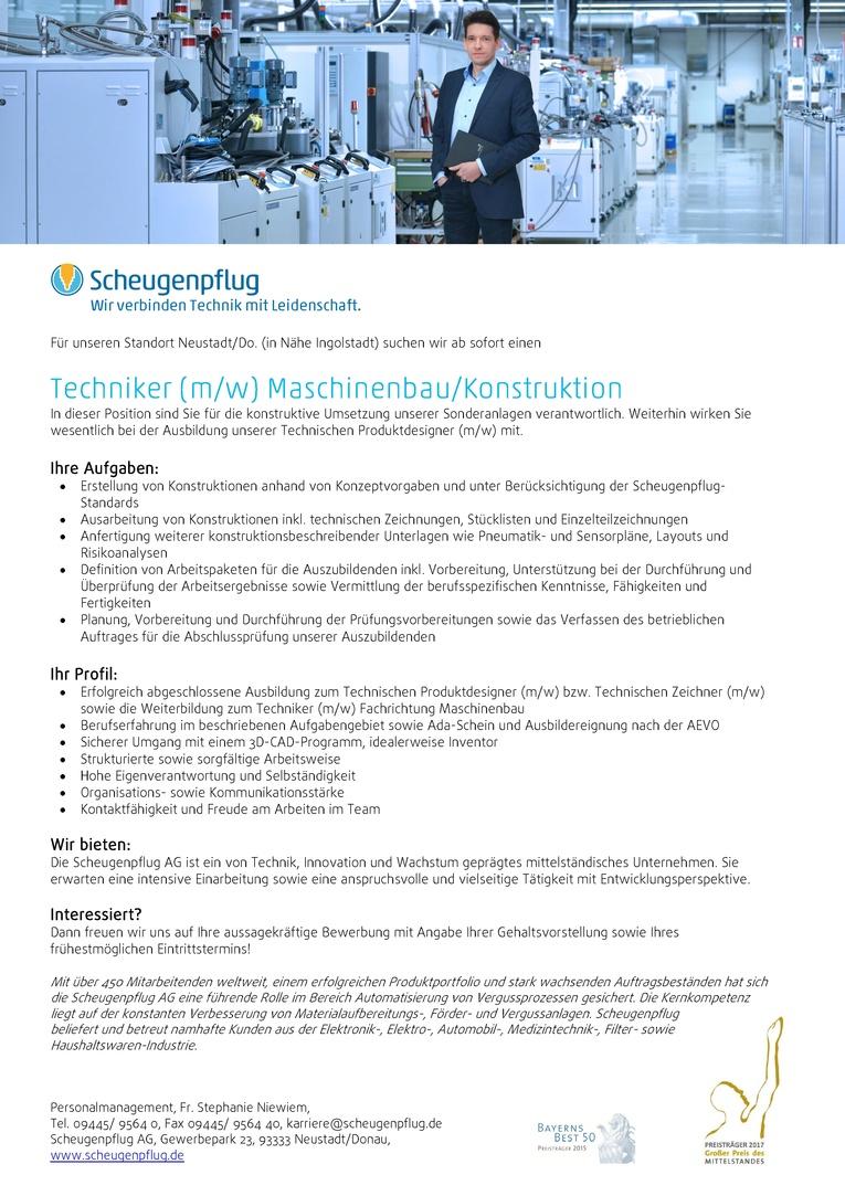 Techniker (m/w) Maschinenbau/Konstruktion mit Ausbilderfunktion