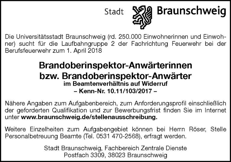 Brandoberinspektor-Anwärterinnen / Brandoberinspektor-Anwärter