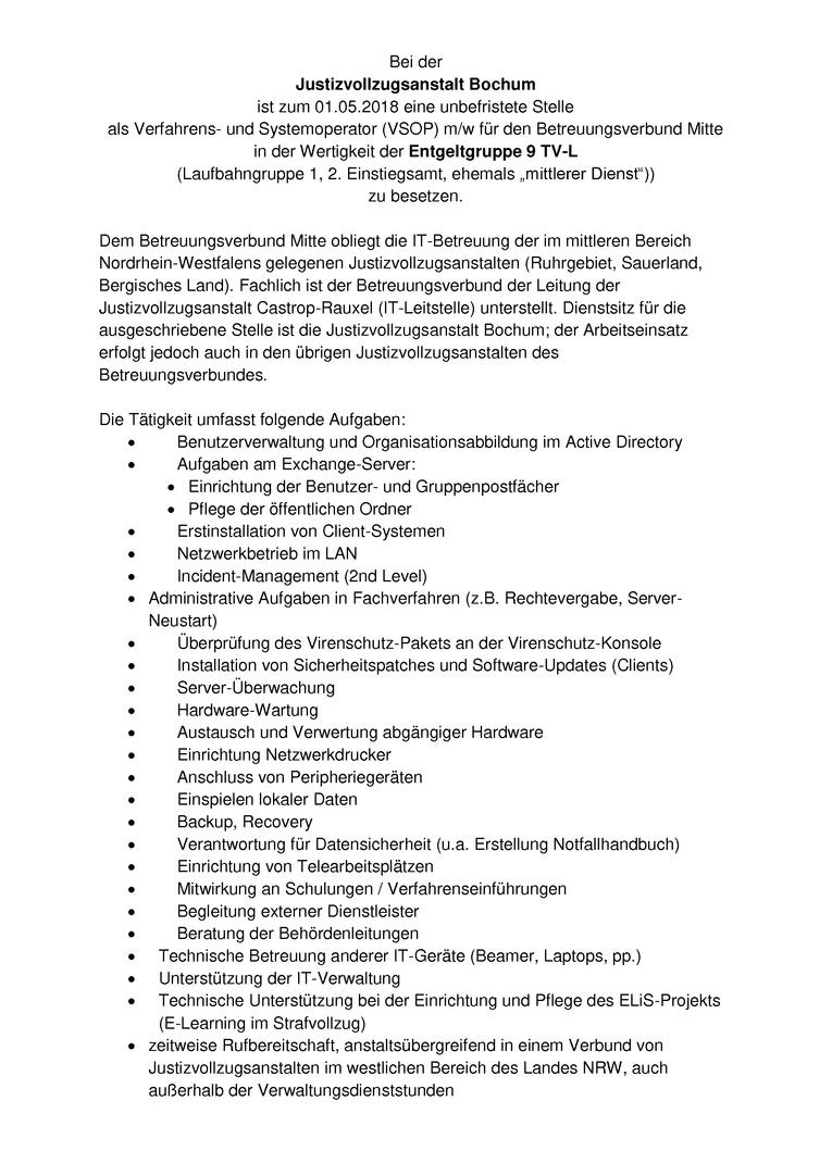 Verfahrens- und Systemoperator/in mit Dienstsitz in der JVA Bochum