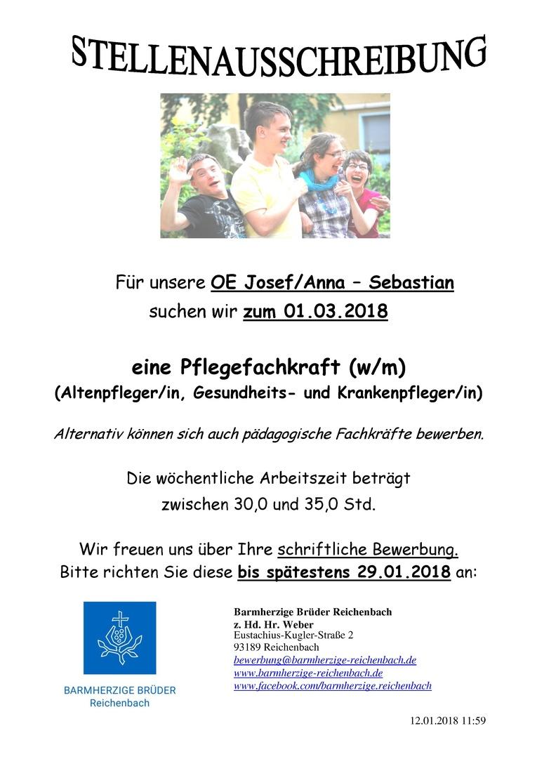 Pflegefachkraft (w/m), für unsere Wohngruppen Josef/Anna-Sebastian, zum 01.03.2018