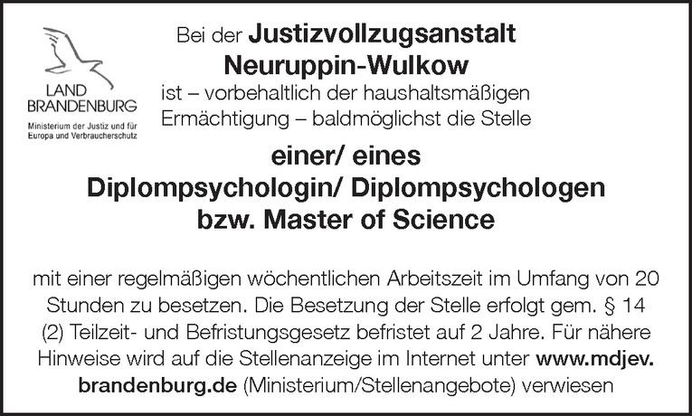Diplompsychologin / Diplompsychologen / Master of Science
