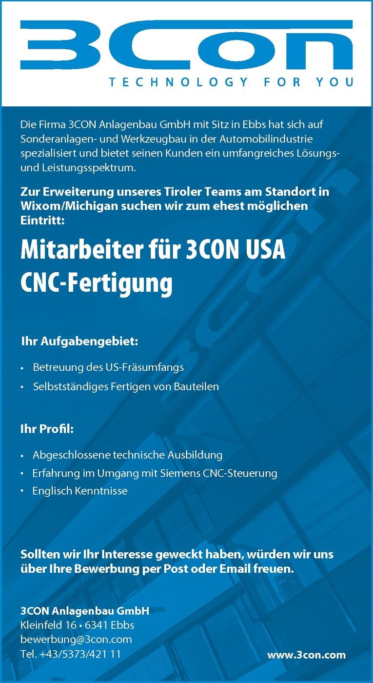 Mitarbeiter für 3CON USA (CNC-Fertigung)