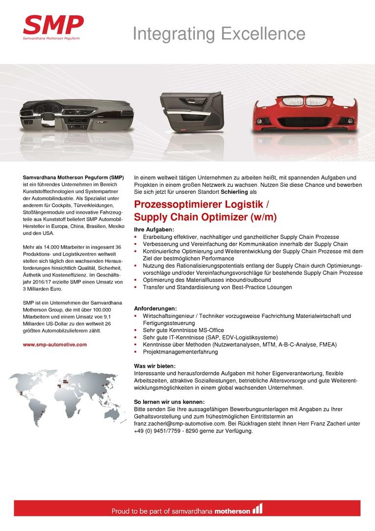 Prozessoptimierung Logistik (w/m)