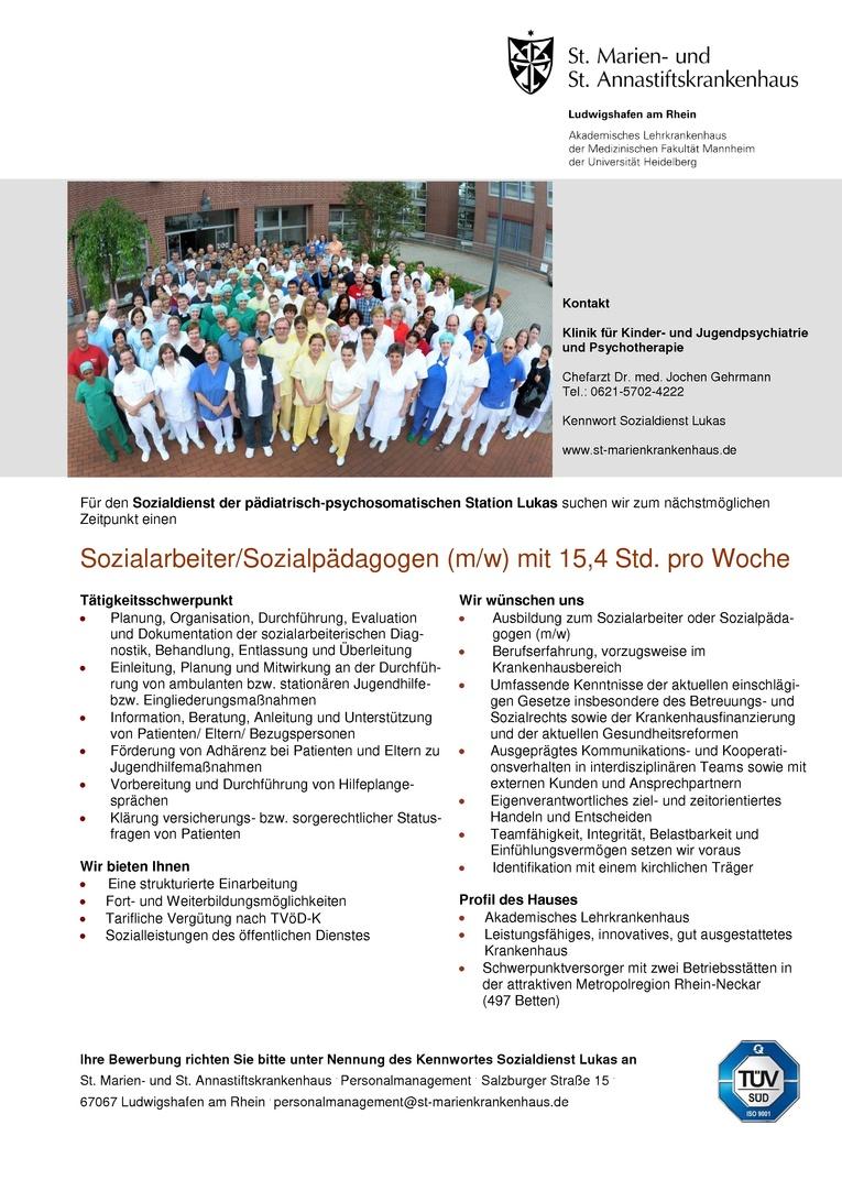 Sozialarbeiter/Sozialpädagogen (m/w) mit 15,4 Std. pro Woche