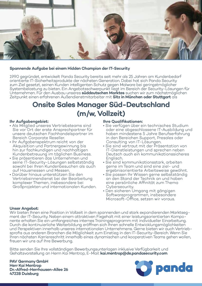 Außendienstmitarbeiter Süd-Deutschland (m/w, Vollzeit)