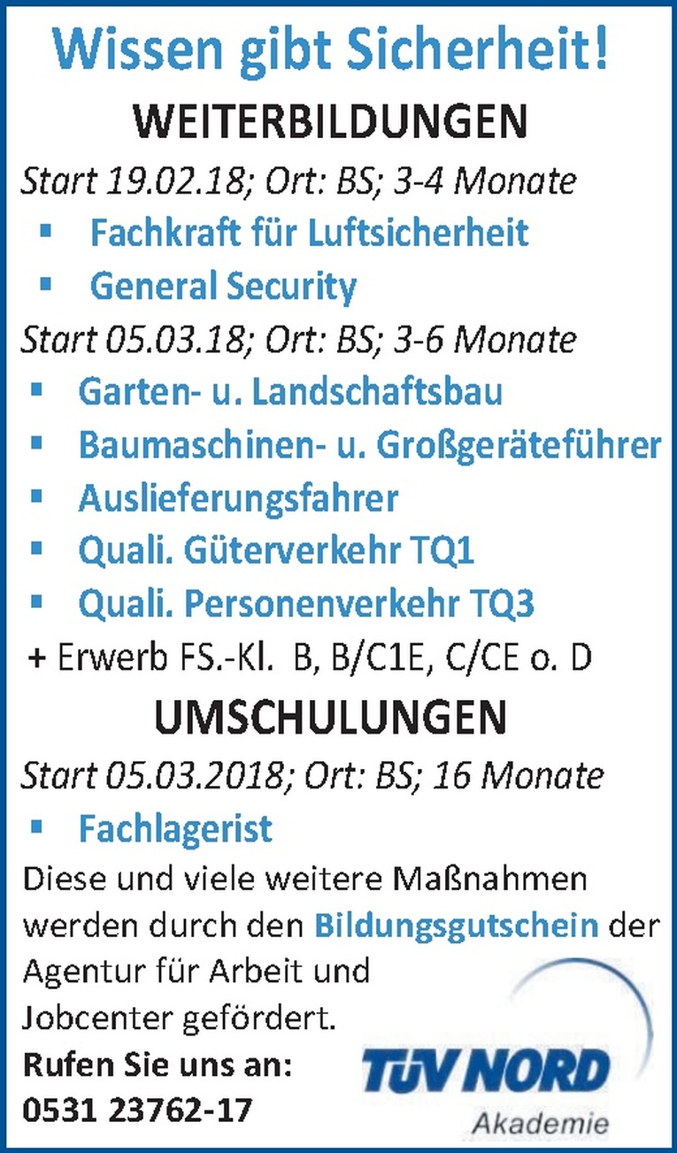 Weiterbildung General Security (m/w)