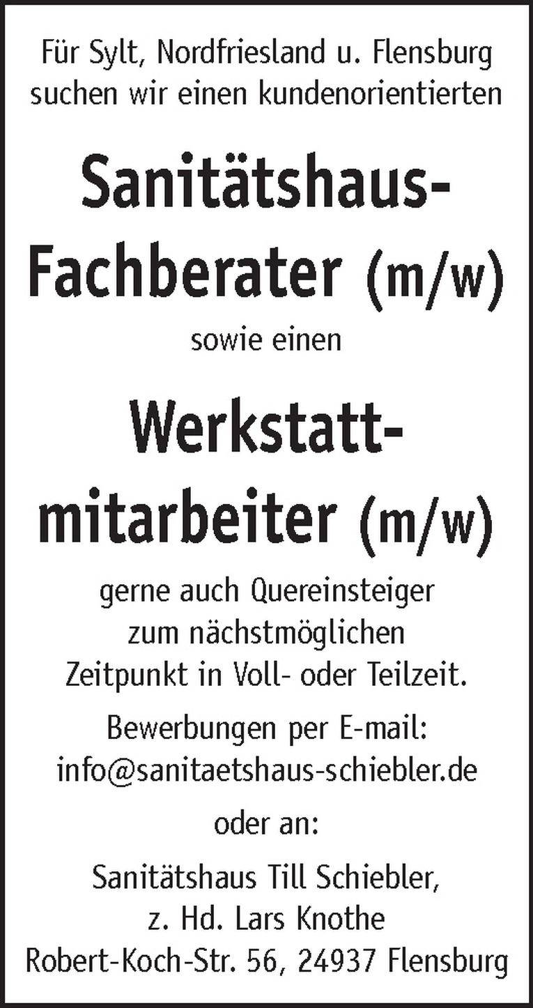 Sanitätshaus-Fachberater (m/w)